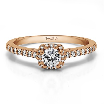 0.58 Ct. Dainty Halo Engagement Ring in Rose Gold