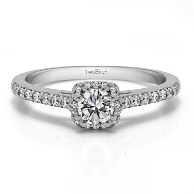 0.58 Ct. Dainty Halo Engagement Ring With Cubic Zirconia Mounted in Sterling Silver (Size 6)