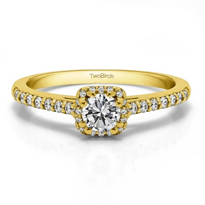 0.58 Ct. Dainty Halo Engagement Ring in Yellow Gold