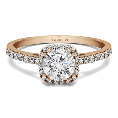 1.31 Ct. Classic Round Halo Engagement Ring in Rose Gold