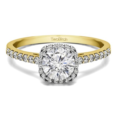 1.31 Ct. Classic Round Halo Engagement Ring in Two Tone Gold