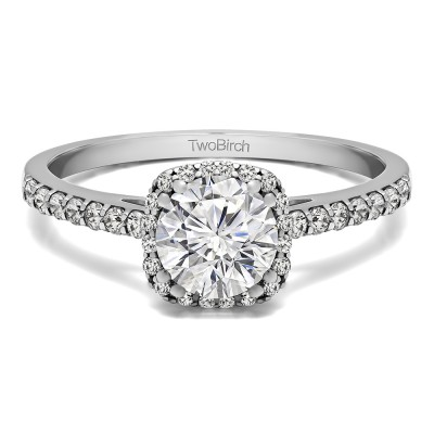 1.31 Ct. Classic Round Halo Engagement Ring With Cubic Zirconia Mounted in Sterling Silver (Size 4.75)