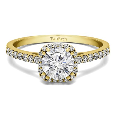 1.31 Ct. Classic Round Halo Engagement Ring in Yellow Gold