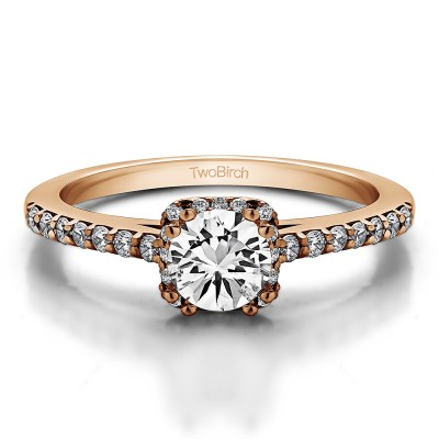 0.79 Ct. Petite Round Halo Engagement Ring in Rose Gold