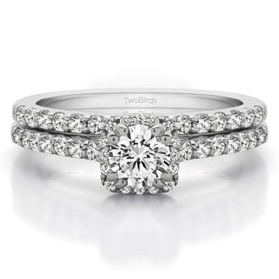 Round Petite Halo Engagement Ring Bridal Set (2 Rings) (1.02 Ct. Twt.)