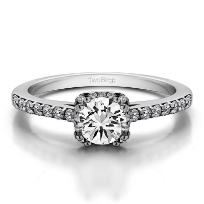0.79 Ct. Petite Round Halo Engagement Ring