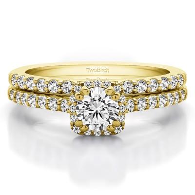 Round Petite Halo Engagement Ring Bridal Set (2 Rings) (1.02 Ct. Twt.)