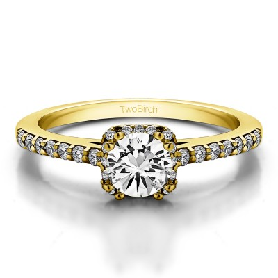 0.79 Ct. Petite Round Halo Engagement Ring in Yellow Gold