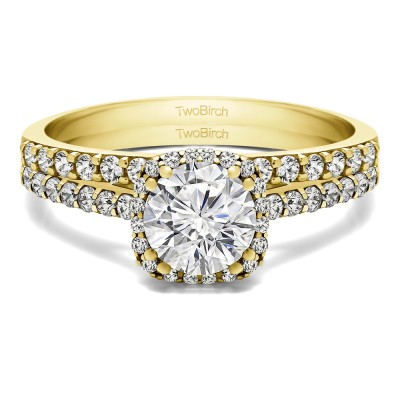 Round Traditional Halo Engagement Ring  Bridal Set (2 Rings) (1.54 Ct. Twt.)