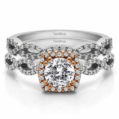 Round Infinity Halo Engagement Ring Bridal Set (2 Rings) (1.17 Ct. Twt.)