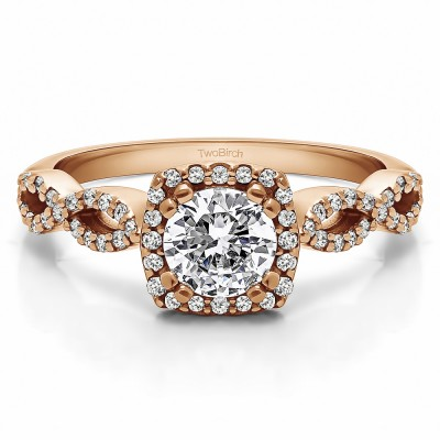 1 Ct. Round Halo Engagement Ring with Infinity Shank in Rose Gold