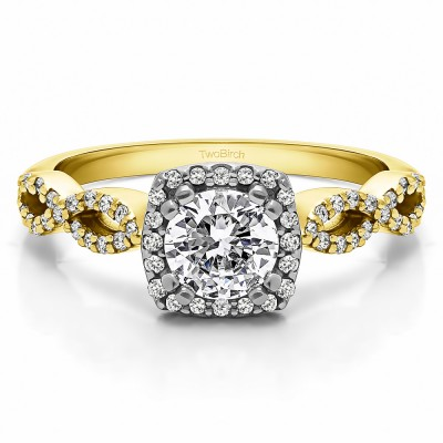 1 Ct. Round Halo Engagement Ring with Infinity Shank in Two Tone Gold