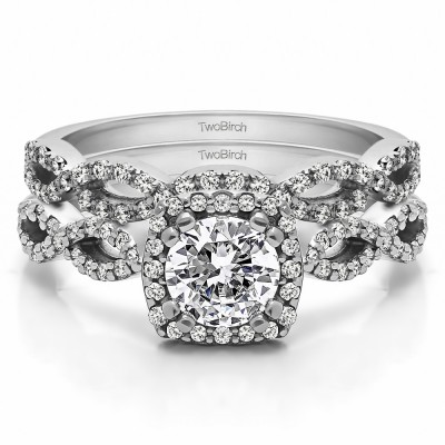 Round Infinity Halo Engagement Ring Bridal Set (2 Rings)(1.17 Ct. Twt.)