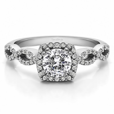 1 Ct. Round Halo Engagement Ring with Infinity Shank