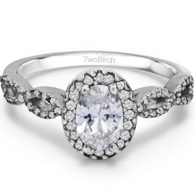0.74 Ct. Oval Halo Engagement Ring with Infinity Shank