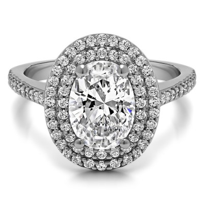 1.34 Ct. Oval Double Halo Engagement Ring