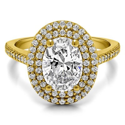 1.34 Ct. Oval Double Halo Engagement Ring in Yellow Gold