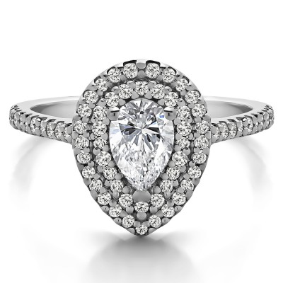 Pear Shaped Double Halo Engagement Ring in White Gold