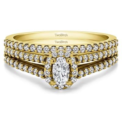 Oval Halo Split Shank Engagement Ring Bridal Set (2 Rings) (0.74 Ct. Twt.)