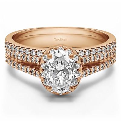 Oval Halo Split Shank Engagement Ring Bridal Set (2 Rings) (1.05 Ct. Twt.)