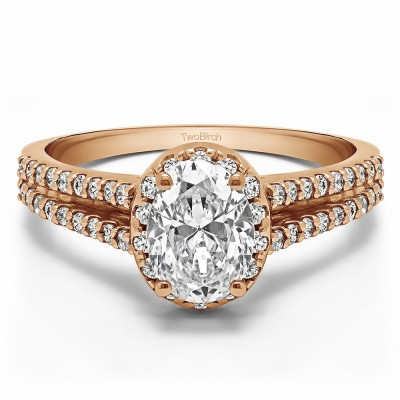 1.5 Ct. Oval Halo Engagement Ring with Split Shank in Rose Gold