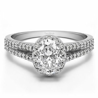 0.88 Ct. Oval Halo Engagement Ring with Split Shank