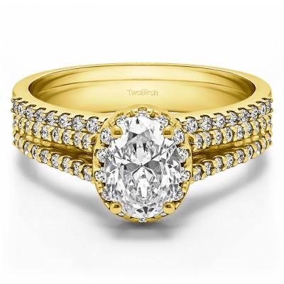 Oval Halo Split Shank Engagement Ring Bridal Set (2 Rings) (1.55 Ct. Twt.)