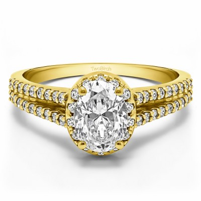 0.88 Ct. Oval Halo Engagement Ring with Split Shank in Yellow Gold