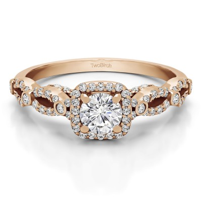 0.92 Ct. Infinity Halo Engagement Ring in Rose Gold