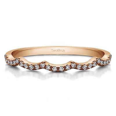 0.13 Carat Scalloped Edge Shared Prong Matching Wedding Ring