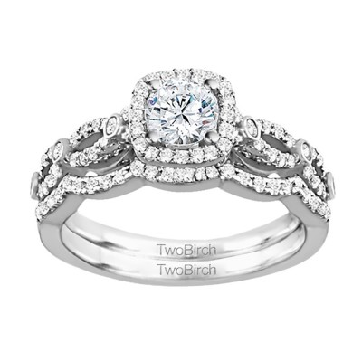 Round Infinity Halo Engagement Ring Bridal Set (2 Rings) (1.05 Ct. Twt.)