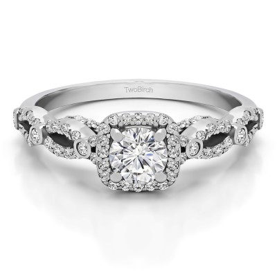 0.92 Ct. Infinity Halo Engagement Ring With Cubic Zirconia Mounted in Sterling Silver (Size 7)
