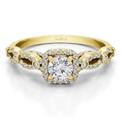 0.92 Ct. Infinity Halo Engagement Ring in Yellow Gold