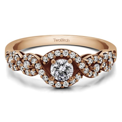 0.52 Ct. Oval Halo Engagement Ring with Split Shank in Rose Gold