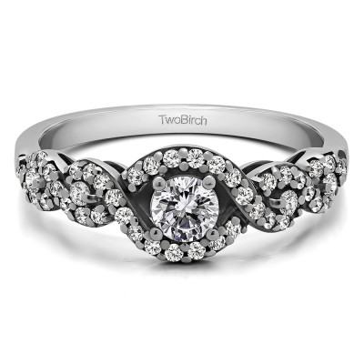 0.52 Ct. Oval Halo Engagement Ring with Split Shank