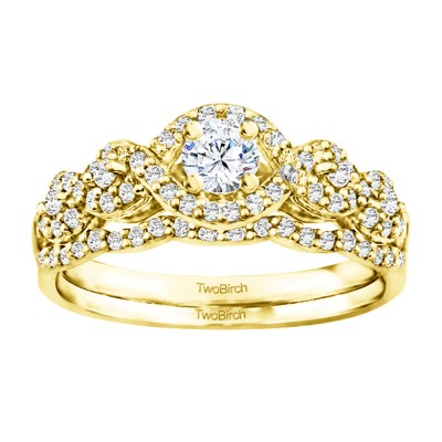 Round Fancy Infinity Halo Engagement Ring Bridal Set (2 Rings) (0.66 Ct. Twt.)