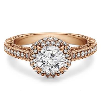 1.58 Ct. Round Filigree Vintage Halo Engagement Ring in Rose Gold