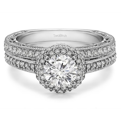 Round Vintage Halo Engagement Ring Bridal Set (2 Rings) (1.92 Ct. Twt.)