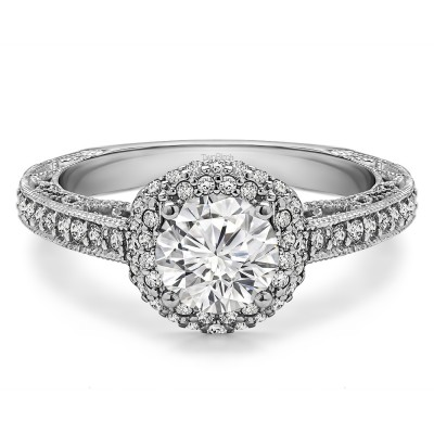 1.58 Ct. Round Filigree Vintage Halo Engagement Ring