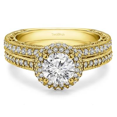 Round Vintage Halo Engagement Ring Bridal Set (2 Rings) (1.92 Ct. Twt.)