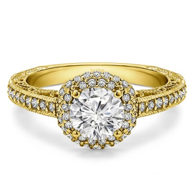 1.58 Ct. Round Filigree Vintage Halo Engagement Ring in Yellow Gold