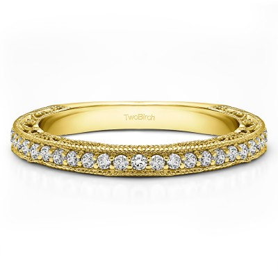 0.34 Carat Vintage Millgrained Matching Band