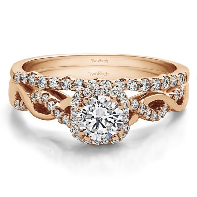 Round Infinity Halo Engagement Ring Bridal Set (2 Rings) (0.76 Ct. Twt.)