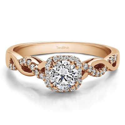 0.6 Ct. Round Infinity Halo Engagement Ring in Rose Gold