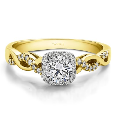 0.6 Ct. Round Infinity Halo Engagement Ring in Two Tone Gold