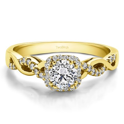 0.6 Ct. Round Infinity Halo Engagement Ring in Yellow Gold
