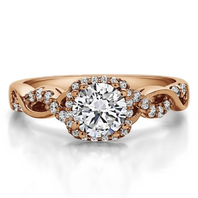 1.31 Ct. Round Halo Twig Engagement Ring in Rose Gold