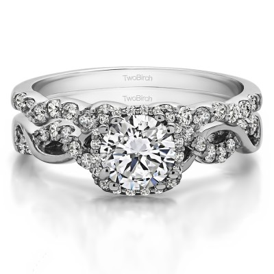 Round Infinity Halo Engagement Ring Bridal Set (2 Rings) (1.55 Ct. Twt.)