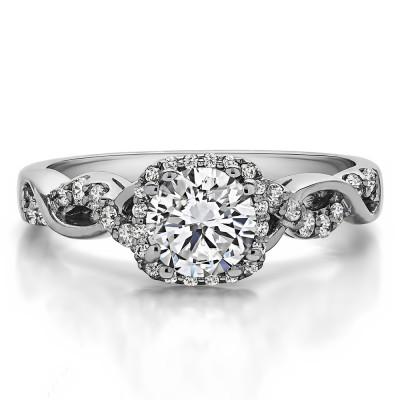 1.31 Ct. Lab Grown Diamond Round Halo Twig Engagement Ring