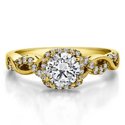1.31 Ct. Round Halo Twig Engagement Ring in Yellow Gold